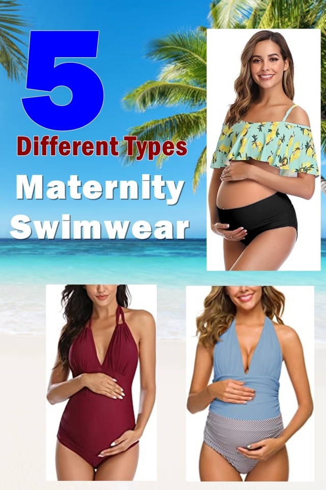 There Are Basically Five Different Types Of Maternity Swimwear Styles: Tankini, Halter, Strapless, One Piece And Bikini.