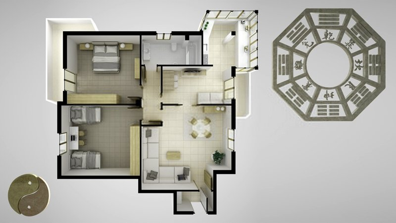 Start by placing the Bagua over a plan of your home or room so that you can identify your own particular problem area